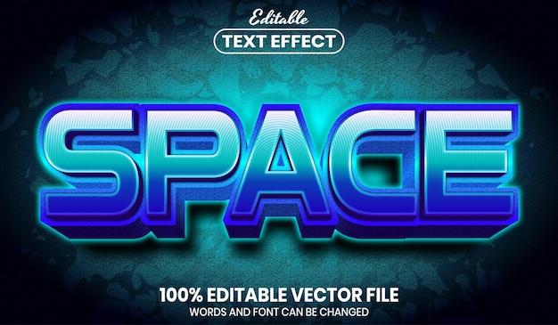 Texto de espaço, efeito de texto editável de estilo de fonte