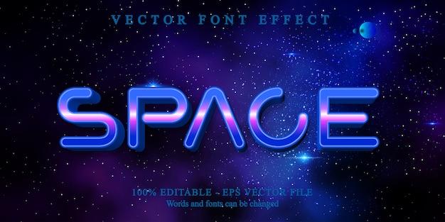 Texto de espaço, efeito de texto editável de estilo gradiente