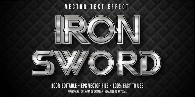 Texto de espada de ferro, efeito de texto editável estilo prata brilhante