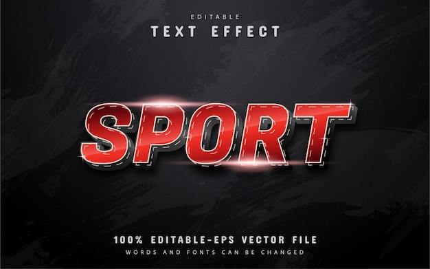 Texto de esporte, efeito de texto gradiente vermelho com linha pontilhada