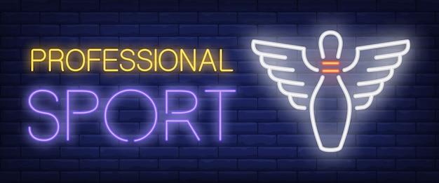 Texto de esporte neon profissional e pino de boliche com asas