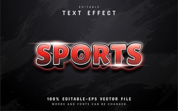 Texto de esportes, efeito de texto gradiente vermelho