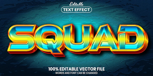 Texto de esquadrão, efeito de texto editável de estilo de fonte