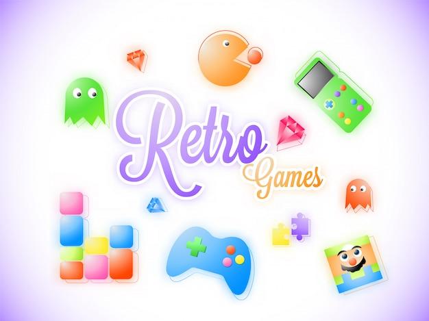 Texto de estilo adesivo retro jogo com ícones de jogos.
