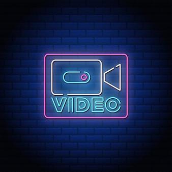 Texto de estilo de canto de néon do botão de vídeo.