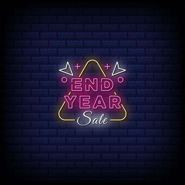 Texto de estilo de letreiro de néon de venda de fim