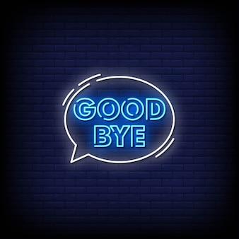 Texto de estilo de letreiros de néon adeus