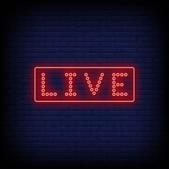 Texto de estilo de letreiros de néon ao vivo