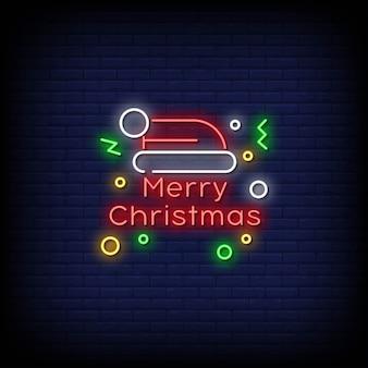Texto de estilo de letreiros de néon de feliz natal