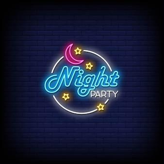 Texto de estilo de letreiros de néon de festa noturna
