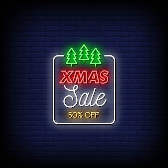 Texto de estilo de letreiros de néon de venda de natal
