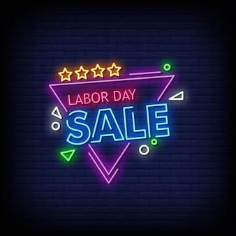 Texto de estilo de letreiros de néon de venda do dia do trabalho