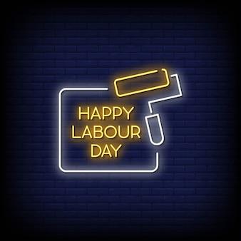 Texto de estilo de letreiros de néon do dia do trabalho feliz