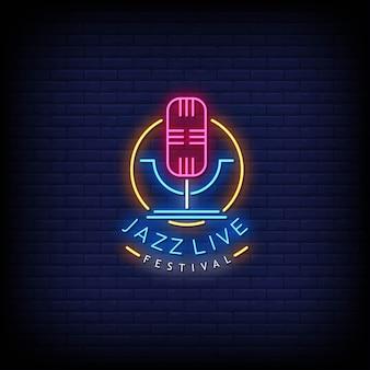 Texto de estilo de letreiros de néon do festival de jazz ao vivo