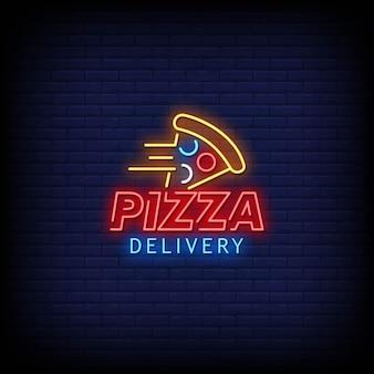 Texto de estilo de letreiros de néon do logotipo de entrega de pizza