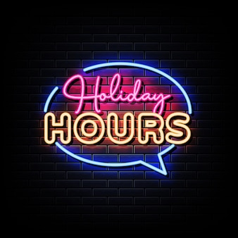 Texto de estilo de letreiros de néon em horas de feriado