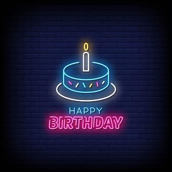 Texto de estilo de letreiros de néon feliz aniversário