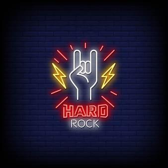 Texto de estilo de letreiros de neon hard rock