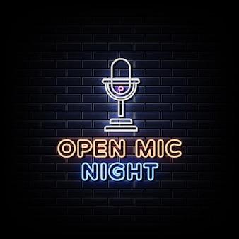 Texto de estilo de letreiros de néon noturno com microfone aberto