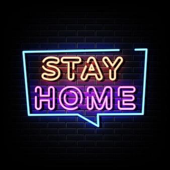 Texto de estilo de letreiros de néon para ficar em casa