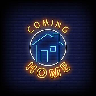 Texto de estilo de letreiros de néon voltando para casa