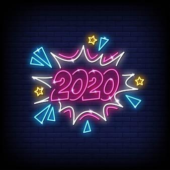 Texto de estilo de sinais de néon 2020