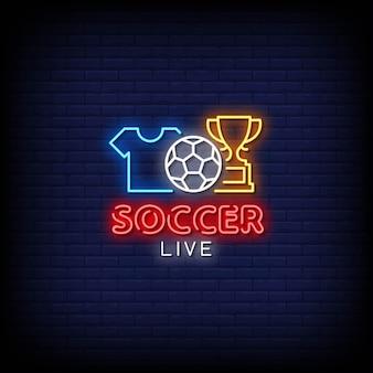 Texto de estilo de sinais de néon ao vivo de futebol