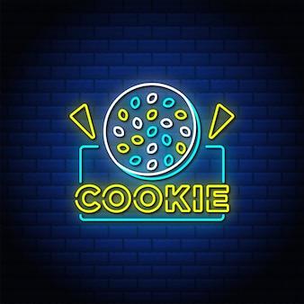 Texto de estilo de sinais de néon cookie com parede de tijolo azul