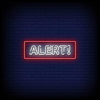 Texto de estilo de sinais de néon de alerta
