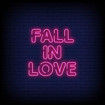 Texto de estilo de sinais de néon de amor