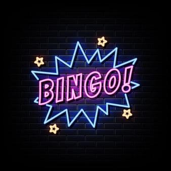 Texto de estilo de sinais de néon de bingo