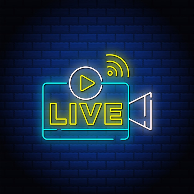 Texto de estilo de sinais de néon de botão ao vivo.