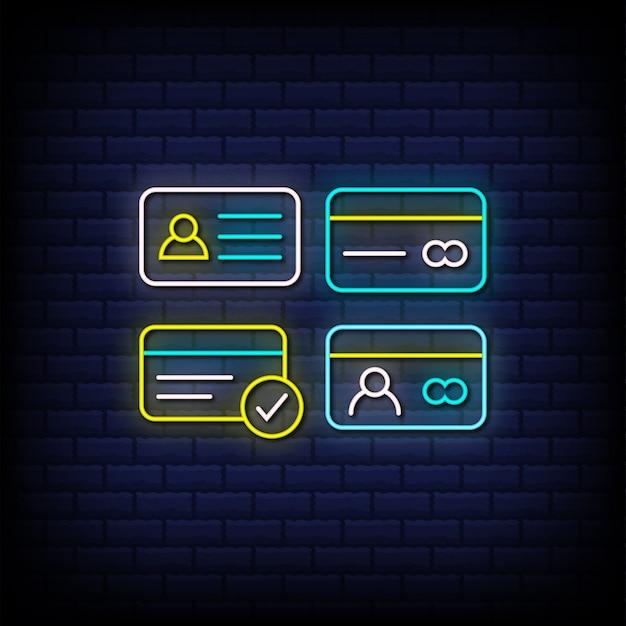 Texto de estilo de sinais de néon de cartão de crédito