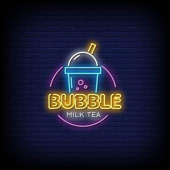 Texto de estilo de sinais de néon de chá de bolha