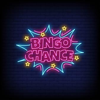 Texto de estilo de sinais de néon de chance de bingo