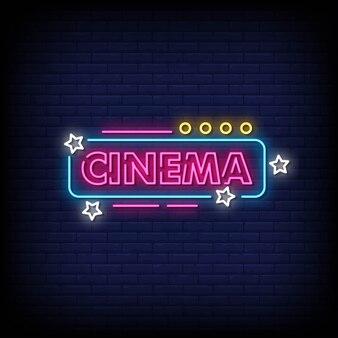 Texto de estilo de sinais de néon de cinema