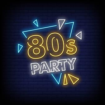 Texto de estilo de sinais de néon de festa dos anos 80
