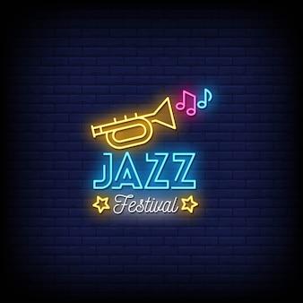 Texto de estilo de sinais de néon de festival de jazz