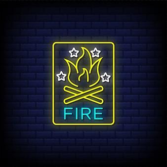 Texto de estilo de sinais de néon de fogo