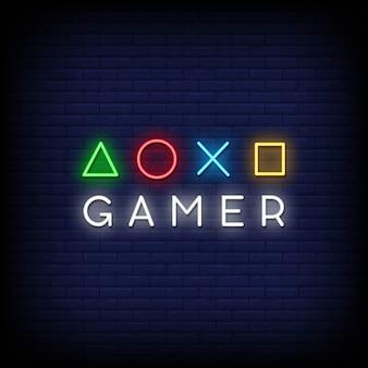 Texto de estilo de sinais de néon de jogador