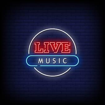 Texto de estilo de sinais de néon de música ao vivo