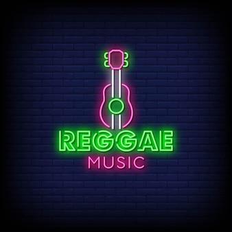 Texto de estilo de sinais de néon de música reggae