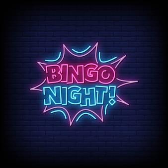 Texto de estilo de sinais de néon de noite de bingo