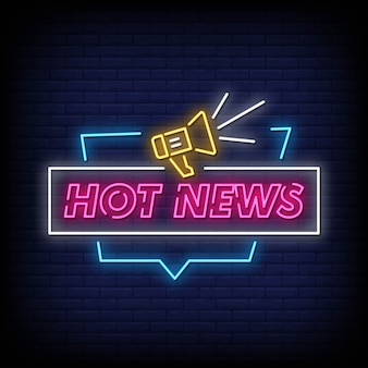 Texto de estilo de sinais de néon de notícias quentes
