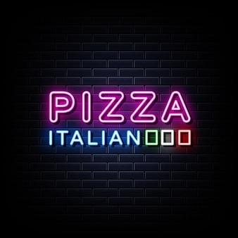 Texto de estilo de sinais de néon de pizza italiana