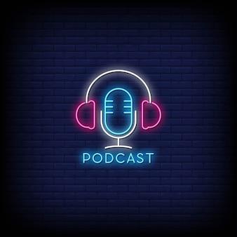 Texto de estilo de sinais de néon de podcast