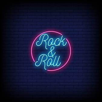 Texto de estilo de sinais de néon de rock and roll