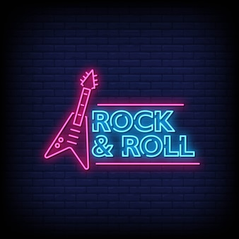 Texto de estilo de sinais de néon de rock and roll