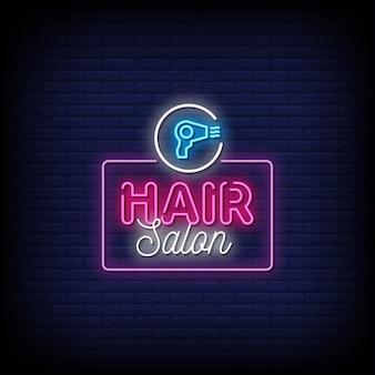 Texto de estilo de sinais de néon de salão de cabeleireiro