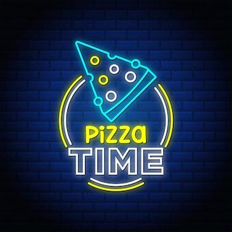 Texto de estilo de sinais de néon de tempo de pizza.